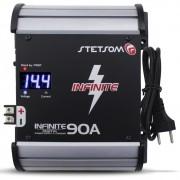 Fonte Automotiva Stetsom 90-a Infinite Bivolt Digital 12v Cooler Voltímetro Amperímetro Carregador Ajuste Tensão ABS