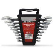 Jogo Chave Fixa Kit 8 Peças 6 a 22 mm Mtx Chave Boca Aço CrV Temperado Suporte Ferramentas Profissional Conjunto