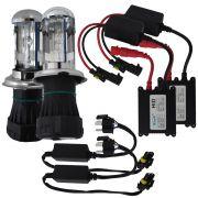 Kit Lampada Bi Xenon H4-3 8000k 3000 Lúmens 12v 35w Ray X Farol Alto Baixo