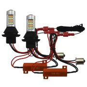 Kit Lampada Super Led Drl Universal Led Drl & Turn Light 1156 1000 Lúmens 12v 20w Ray X Seta Soquete 1 Polo Canceller