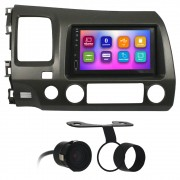Kit Multimídia Mp5 2 Din New Civic 2007 2008 2009 2010 2011 7 Pol Bluetooth Espelhamento Moldura Grafite Camera Re