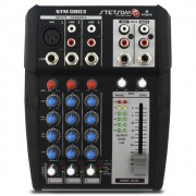 Mesa Som Automotivo Stetsom STM-0803 3 Canais Auxiliar 12v Rca Microfone Equalizador 4 Bandas