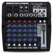 Mesa Som Automotivo Stetsom STM-1206 6 Canais Auxiliar 12v Rca Microfone Equalizador 4 Bandas