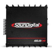 Modulo Amplificador Soundigital 400 Rms SD-400.2D Evo 2 Stereo Digital 2 Canais 1 Ohm 2 Ohms Classe D Crossover