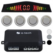 Sensor Estacionamento Ré 4 Pontos E-Tech Universal Traseiro Display Led Kit