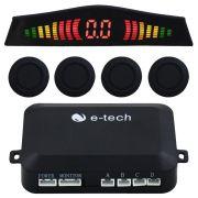 Sensor Estacionamento Ré 4 Pontos Emborrachado E-Tech Universal Preto Traseiro Display Led Kit