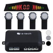 Sensor Estacionamento Ré Embutido OEM E-Tech Universal Traseiro Padrão Original Display Led Kit