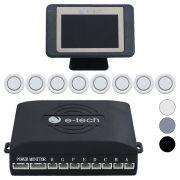 Sensor Ré Dianteiro Traseiro 8 pontos Display Lcd E-Tech