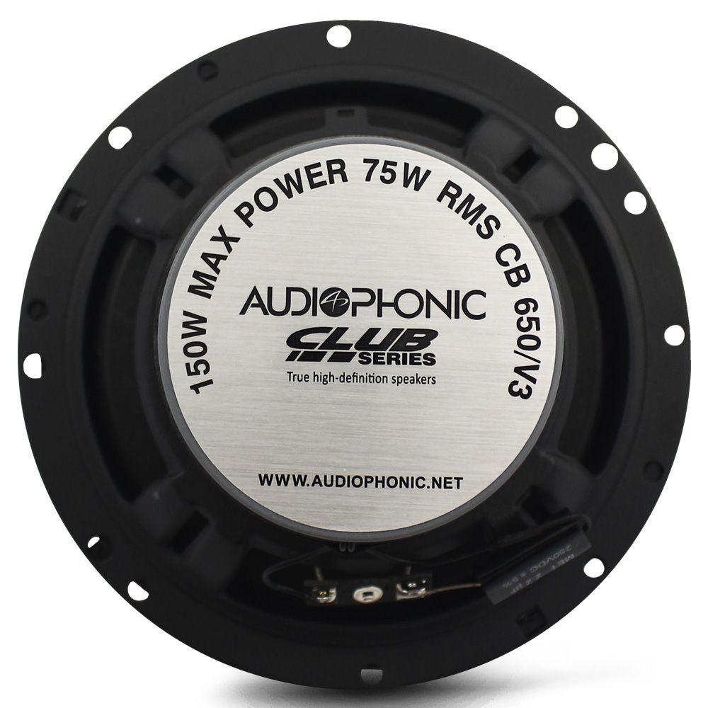 Alto Falante 6 Polegadas Audiophonic 150w Rms CB-650.V3 Coaxial 4 Ohms Bobina Simples 300w Pico Par