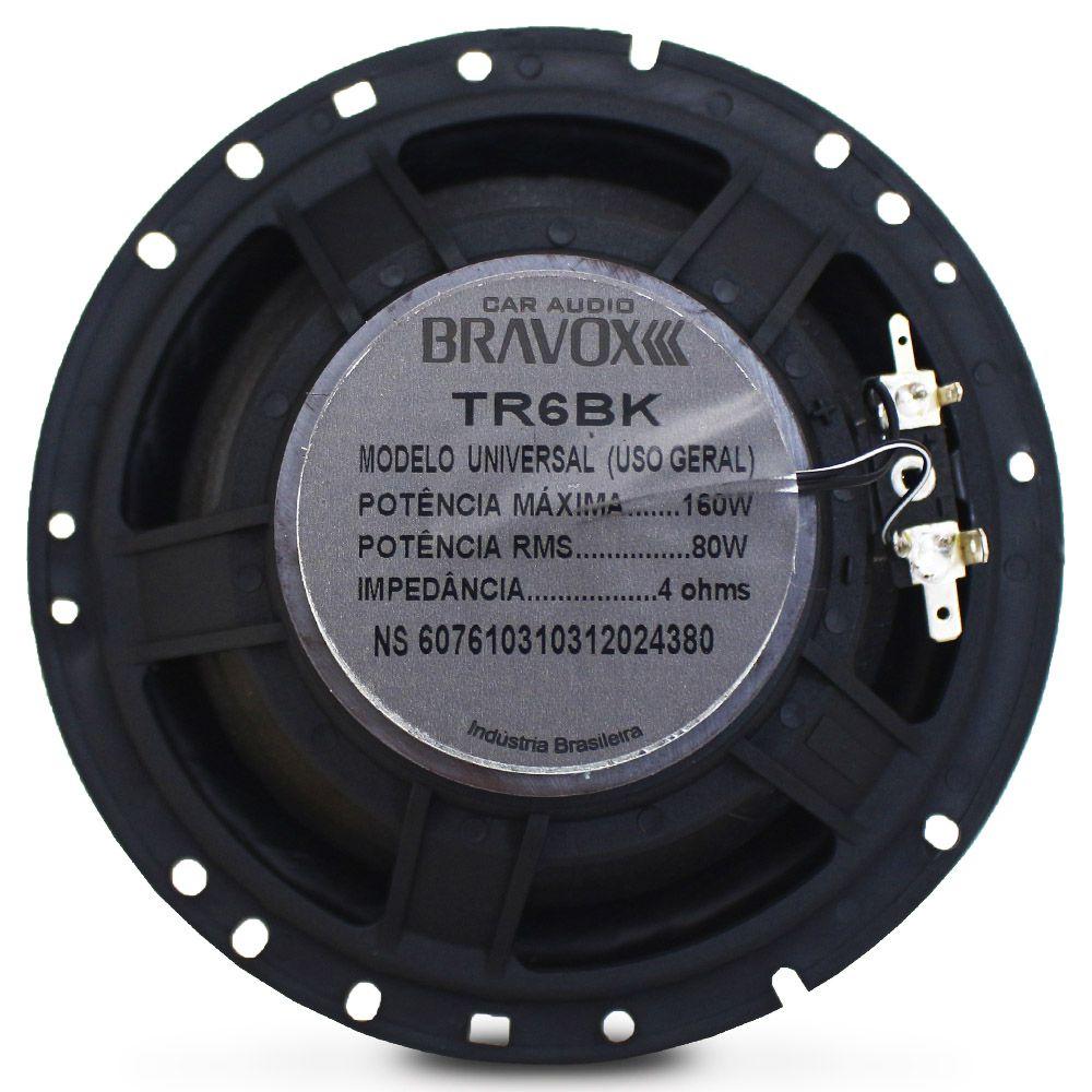 Alto Falante 6 Polegadas Bravox 160w Rms TR6-BK Triaxial 4 Ohms Bobina Simples 320w Pico Par