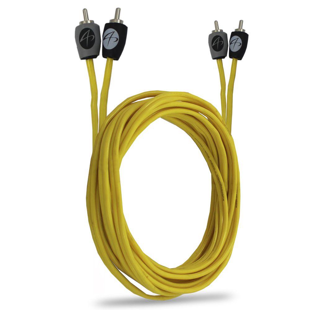 Cabo Rca Automotivo Blindado Audiophonic 5 Metros Need Flexível Conectores Alta Pressão Banhados Níquel