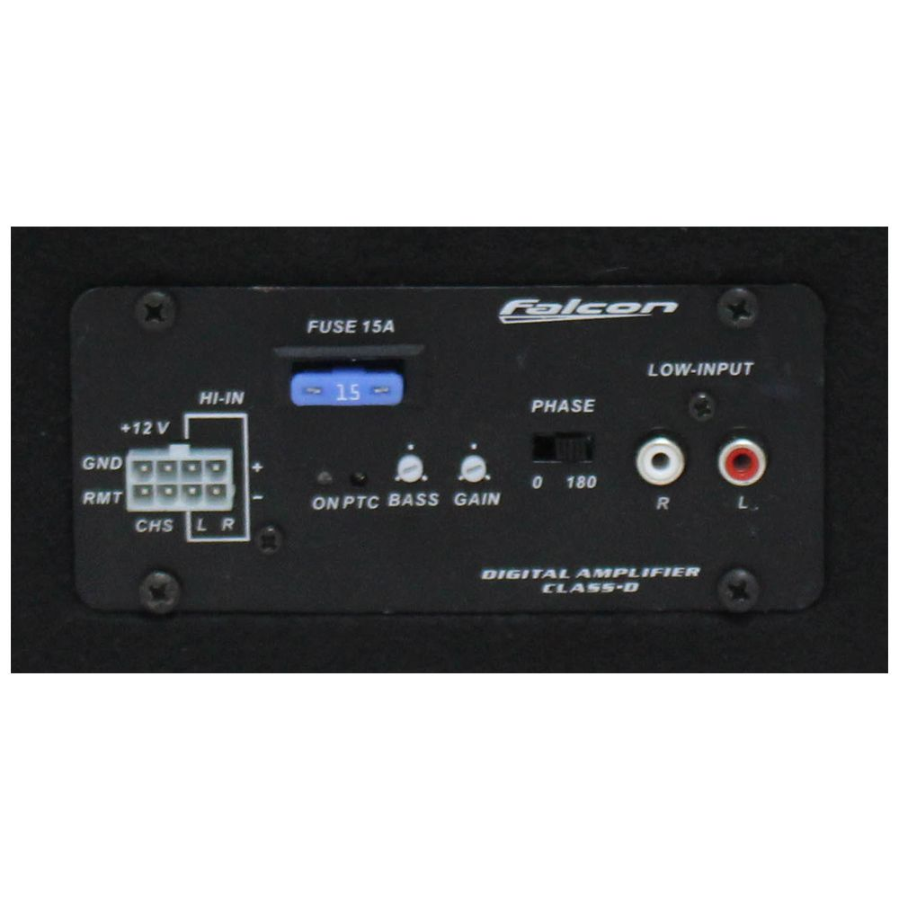 Caixa Amplificada Automotiva CX-8AN Subwoofer 8 Pol 200w Rms Falcon Modulo Mono 1 Canal Bass Boost