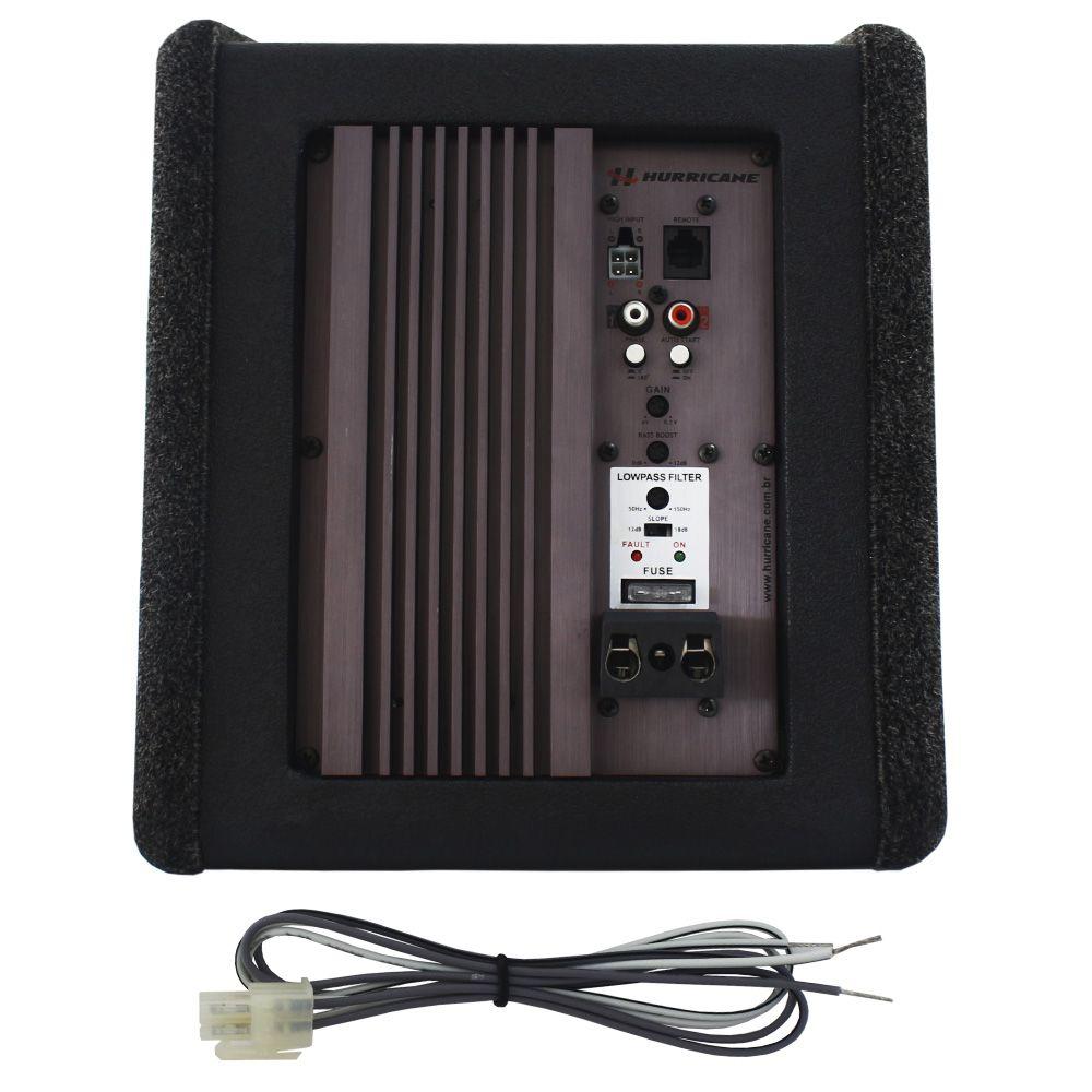 Caixa Amplificada Automotiva Subwoofer 8 Pol 200w Rms Hurricane Módulo Mono Digital 1 Canal 200 Rms Remoto Gain Control