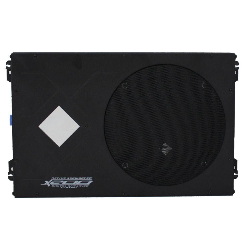 Caixa Amplificada Automotiva X-200SL Subwoofer 8 Pol 200w Rms Falcon Modulo Mono 1 Canal Bass Boost