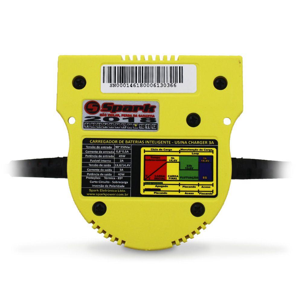 Carregador Bateria Usina 3-a Amperes Charger Bivolt 12v