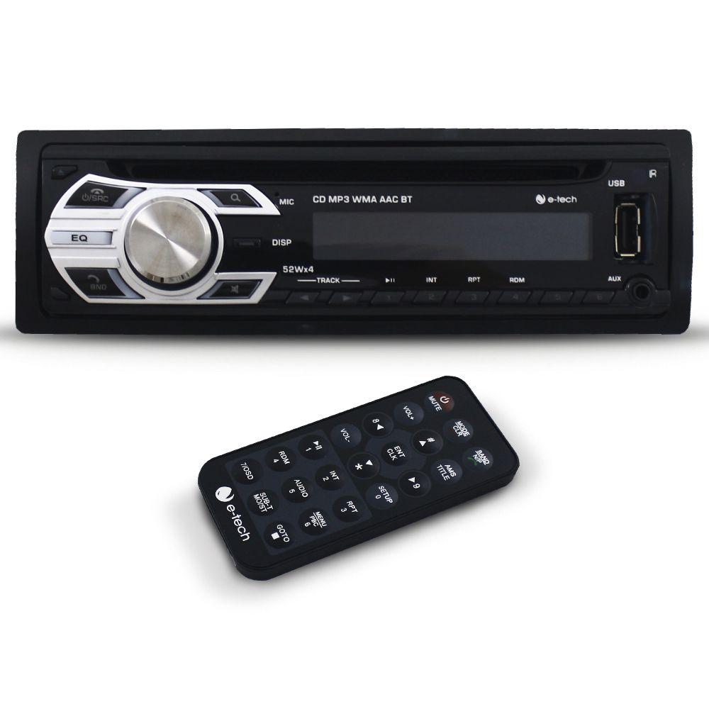 Cd Player Automotivo E-Tech Bluetooth Usb Sd Card Aux Rádio Fm Frente Destacável Aparelho Som Mp3