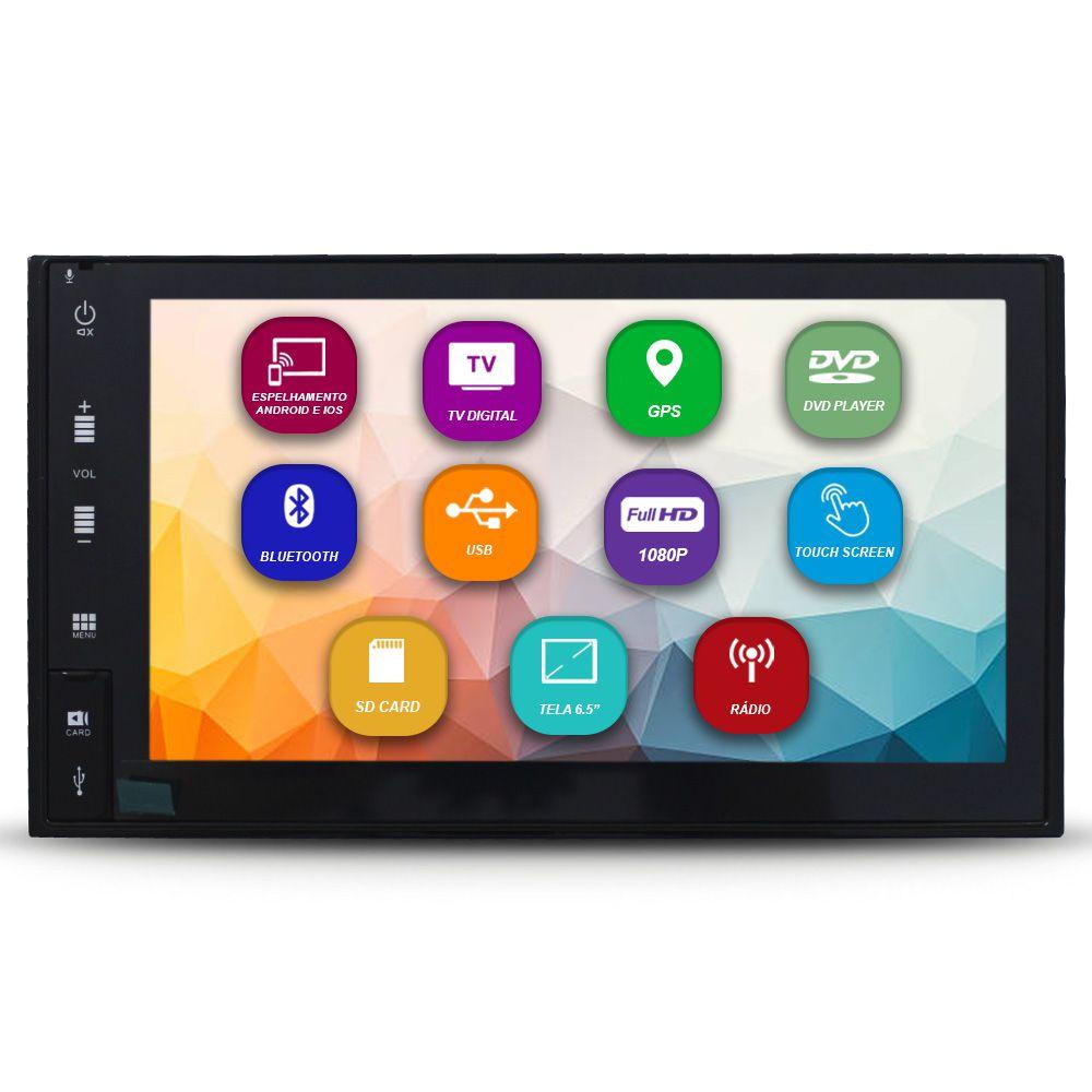 Central Multimídia Automotiva 2 Din 6.5 Pol Tay Tech Universal GPS TV Digital Dvd Espelhamento Android IOS Bluetooth