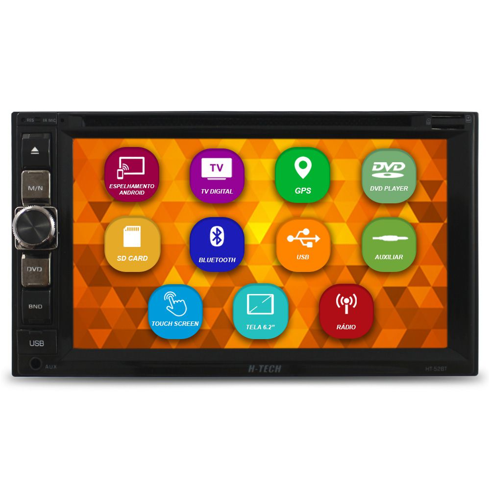 Central Multimidia Automotivo 2 Din 6.2 Pol H-Tech HT-52BT Universal GPS Tv Digital Dvd Espelhamento Android Bluetooth