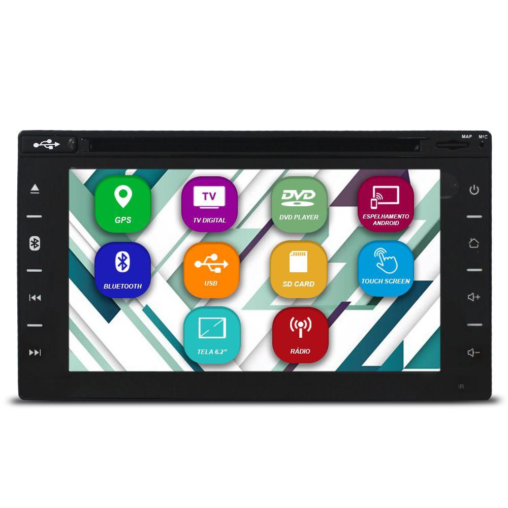 Central Multimídia Automotivo 2 Din 6.2 Pol Tay Tech T95 Dual Plus Universal GPS TV Digital Dvd Espelhamento Android