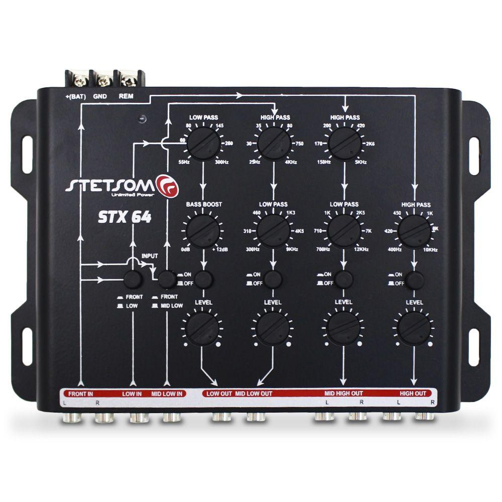 Crossover Automotivo Stetsom 4 Vias STX-64 Digital 12v Mesa Som Bass Boost Level