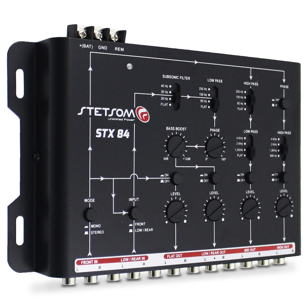 Crossover Automotivo Stetsom 4 Vias STX-84 Digital 12v Mesa Som Bass Boost Level Phase Subsonic Filter