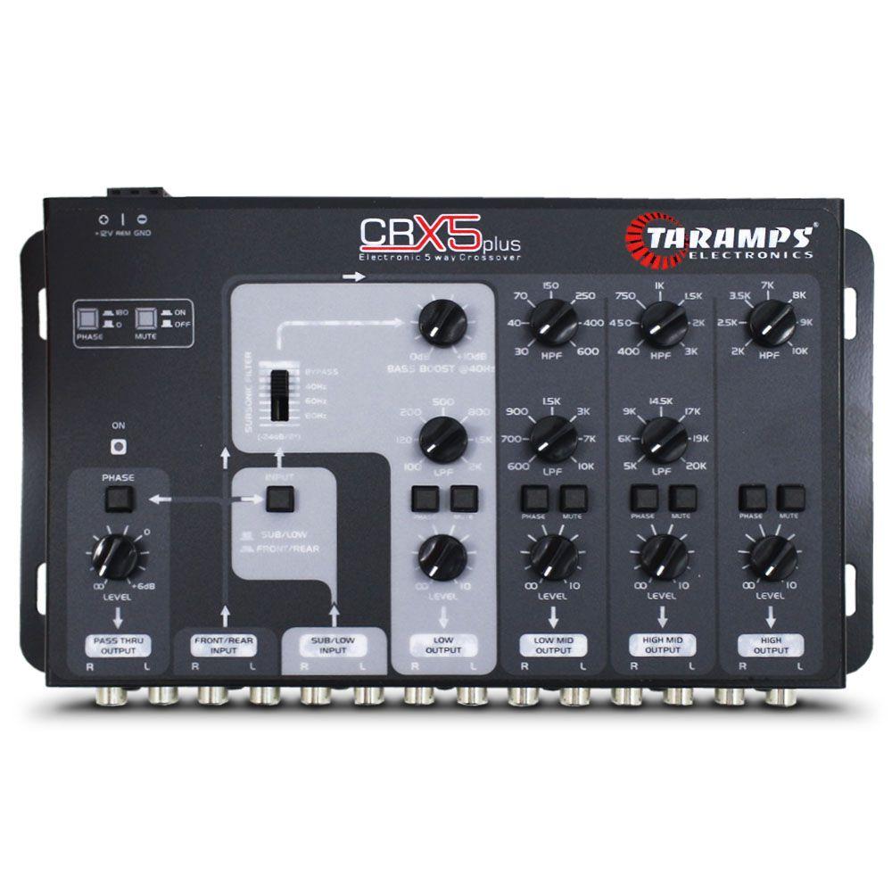 Crossover Automotivo Taramps 5 Vias CRX-5 Plus Digital 12v Mesa Som Bass Boost Level Phase Subsonic Filter