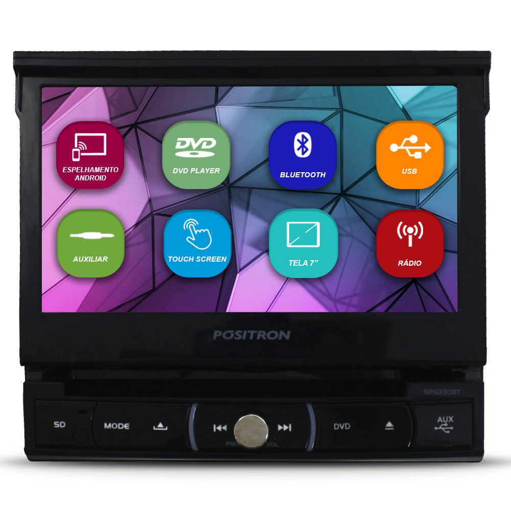 Dvd Player 1 Din Tela 7 Pol Positron SP6330-BT Retrátil