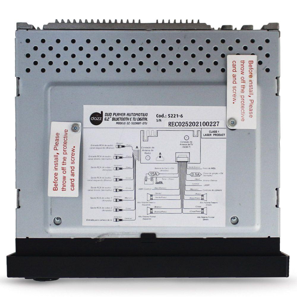 Dvd Player 2 Din Tela 6.2 Pol Dazz Tv Digital Bluetooth Usb