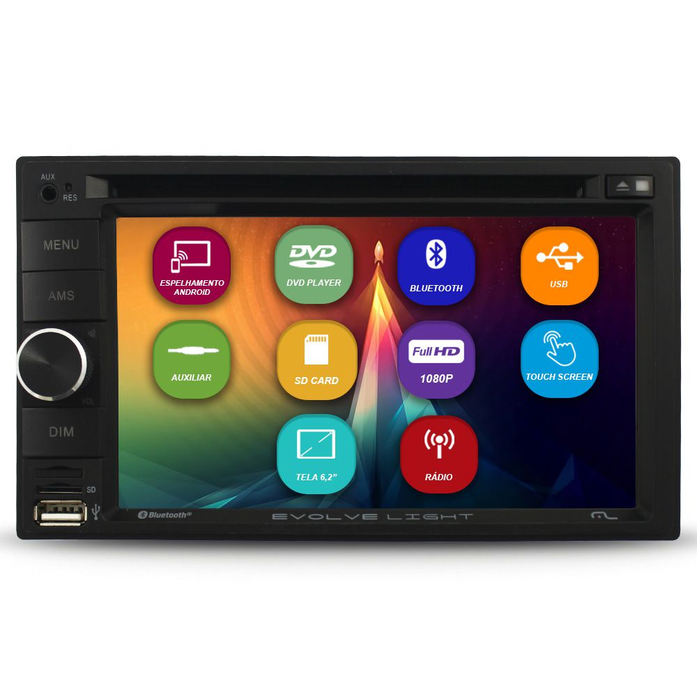 DVD Player 2 Din Tela 6.2 Pol Multilaser EVOLVE LIGHT Usb