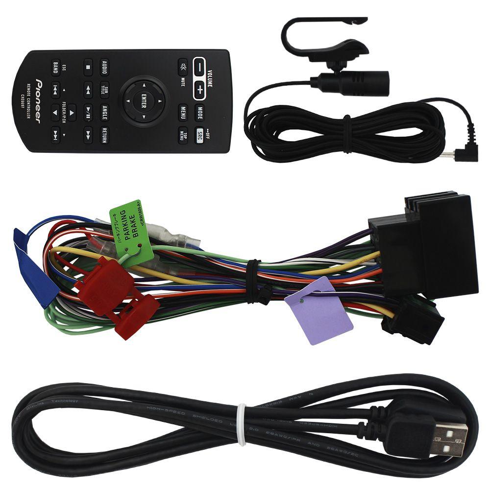 Dvd Player Automotivo 2 Din 6.2 Polegadas Pioneer AVH-A218BT Bluetooth Espelhamento Android Ios Usb Comando Som Volante