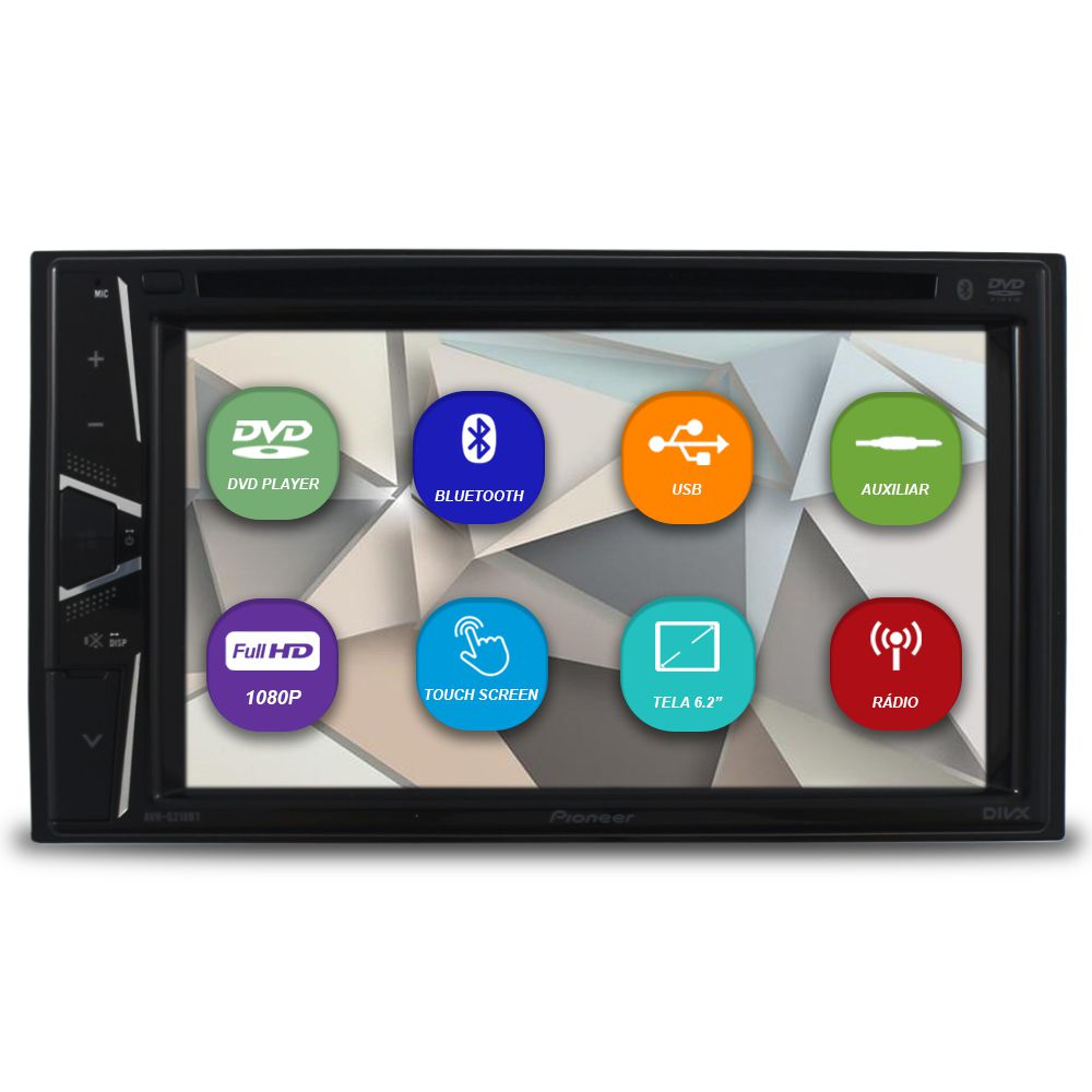 ac097cb85 Dvd Player Automotivo 2 Din Tela 6.2 Polegadas Pionner AVH-G218BT Bluetooth  Usb Fm Entrada ...