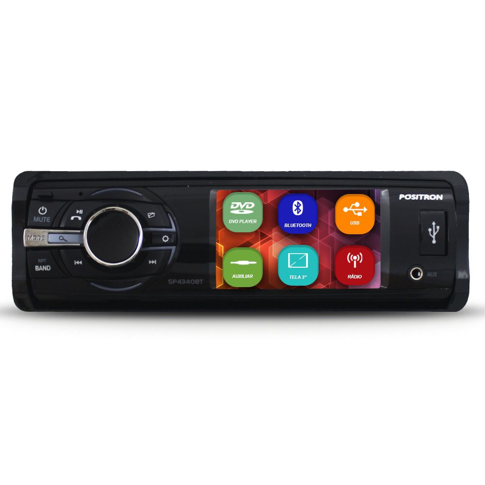 Dvd Player Tela 3 Pol Positron SP4340-BT Bluetooth Usb Fm