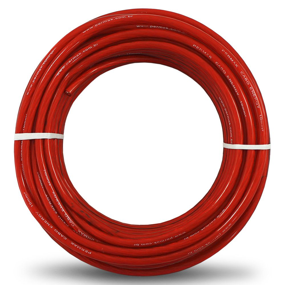 Fio Cabo 10mm Flexível Cristal Vermelho Permak 25 Metros