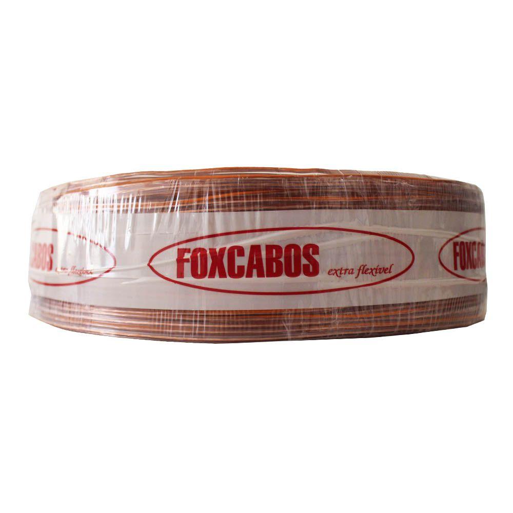 Fio Cabo Paralelo 2x0,75 mm 2x18 Cristal Fox Cabos 100 Metros Flexível Laranja