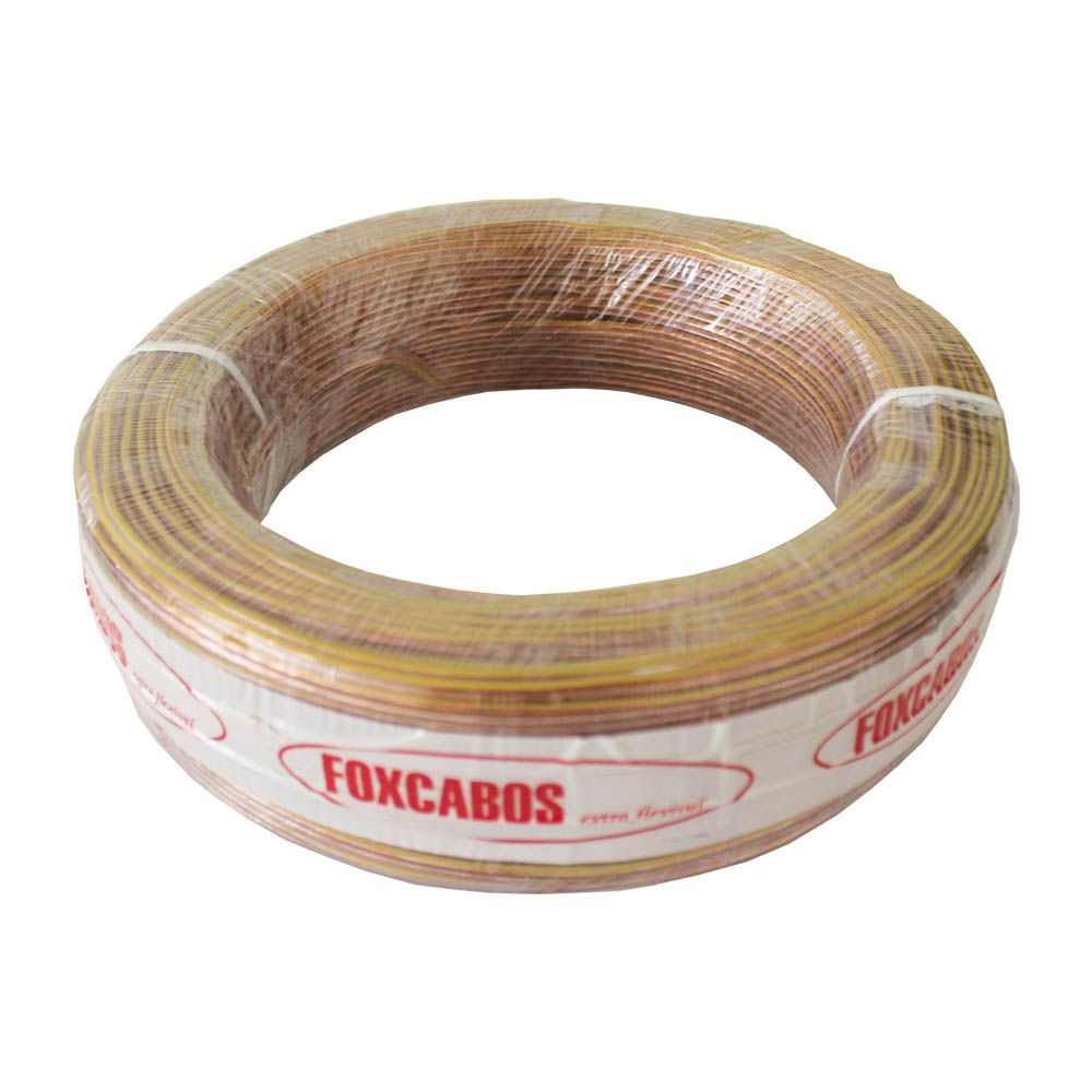 Fio Cabo Paralelo 2x1,00 mm 2x16 Cristal Fox Cabos 100 Metros Flexível Amarelo