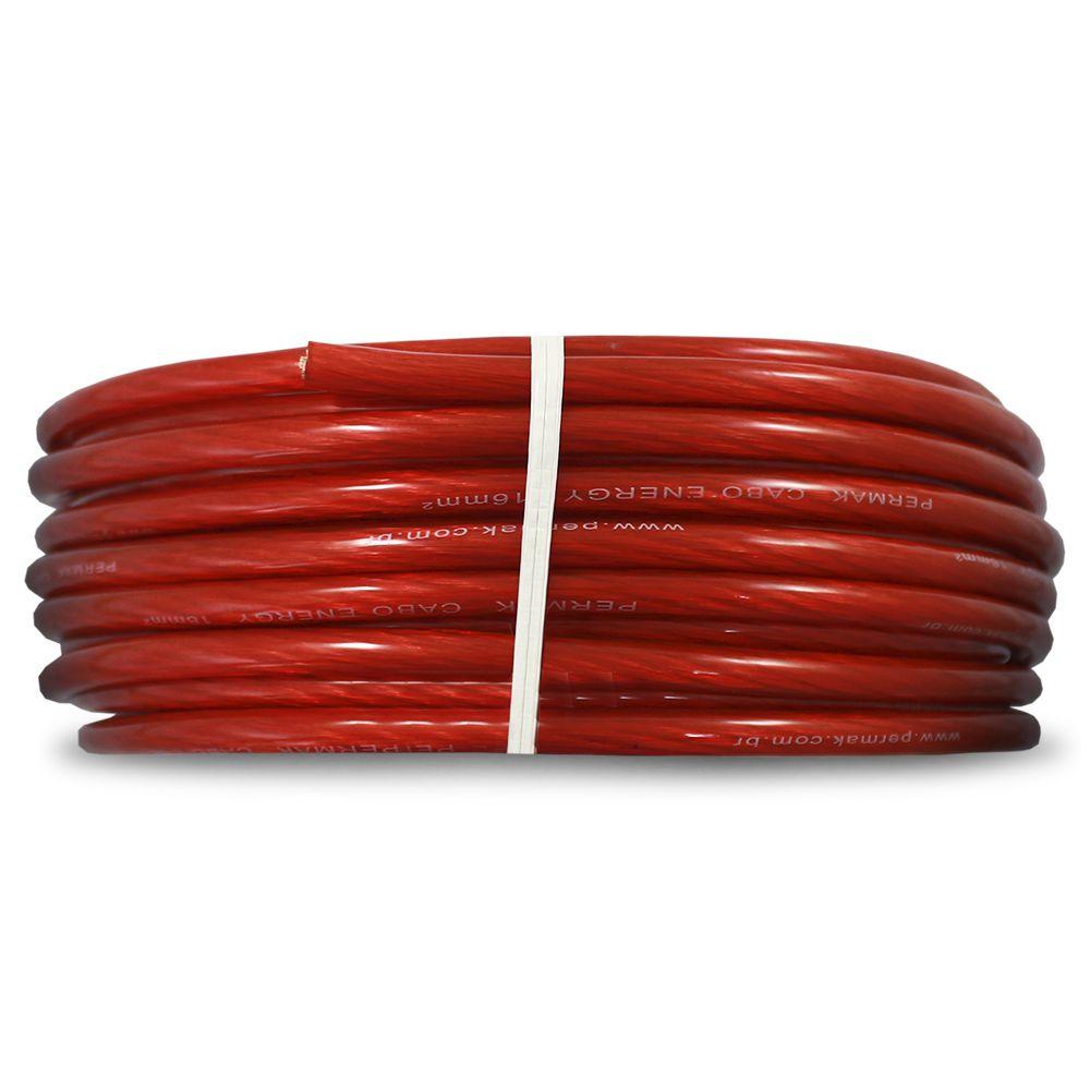 Fio Cabo Positivo 16 mm 25 Metros Automotivo Permak Flexível Cristal Vermelho Cobre Rolo