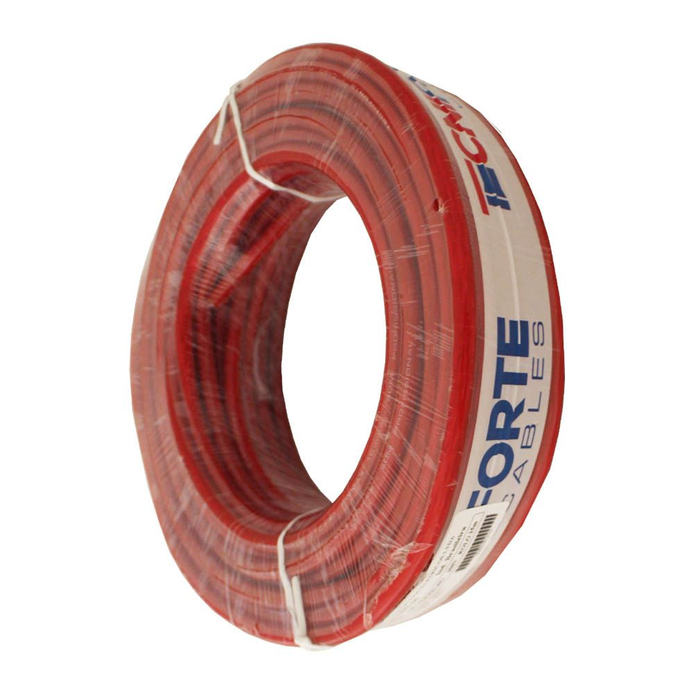 Fio Cabo Positivo 16 mm 25 Metros Automotivo Tecniforte Flexível Cristal Vermelho Cobre Rolo