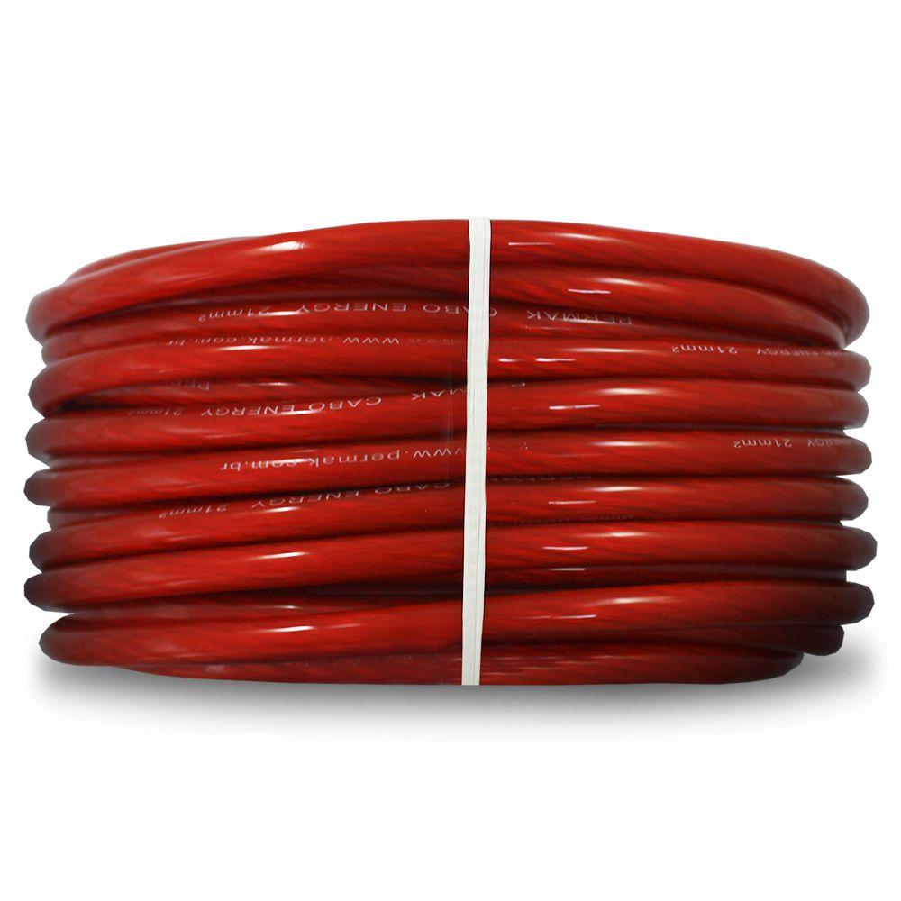 Fio Cabo Positivo 21 mm 25 Metros Automotivo Permak Flexível Cristal Vermelho Cobre Rolo