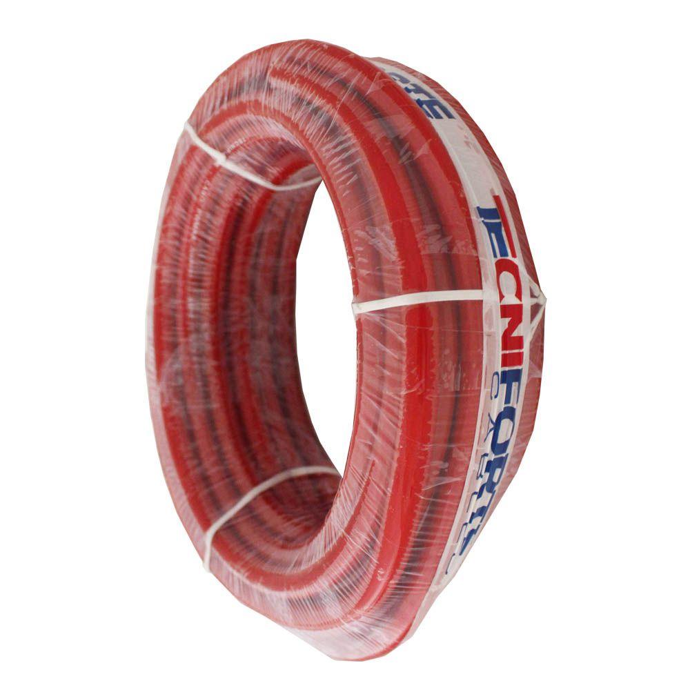 Fio Cabo Positivo 50 mm 10 Metros Automotivo Tecniforte Flexível Cristal Vermelho Cobre Rolo