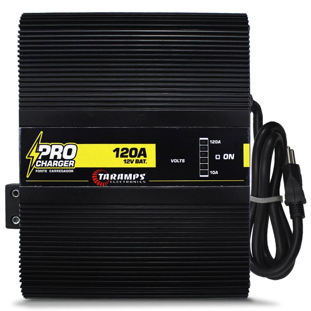 Fonte Automotiva Taramps 120-a Pro Charger Bivolt Digital 12v Smart Cooler Voltímetro Amperímetro Carregador