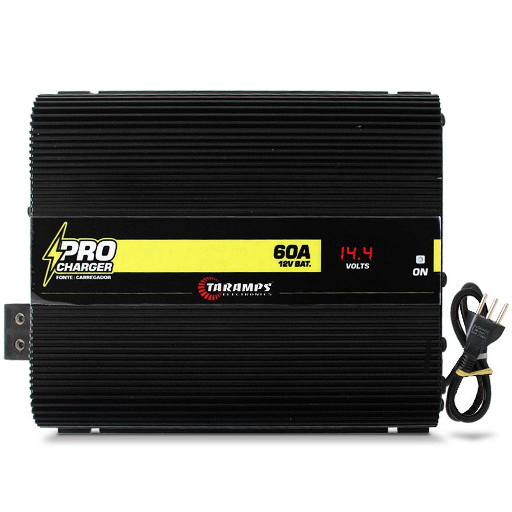 Fonte Automotiva Taramps 60-a Pro Charger Bivolt Digital 12v Smart Cooler Voltímetro Amperímetro Carregador
