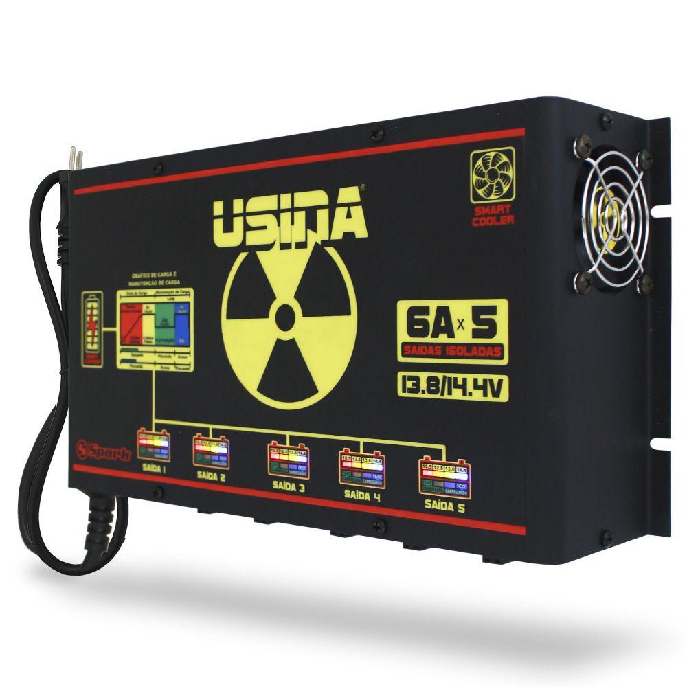 Fonte Automotiva Usina HV-6AX5 Digital Bivolt 12v Battery Meter High Voltage 5 Saídas Cooler Smart Charger Carregador