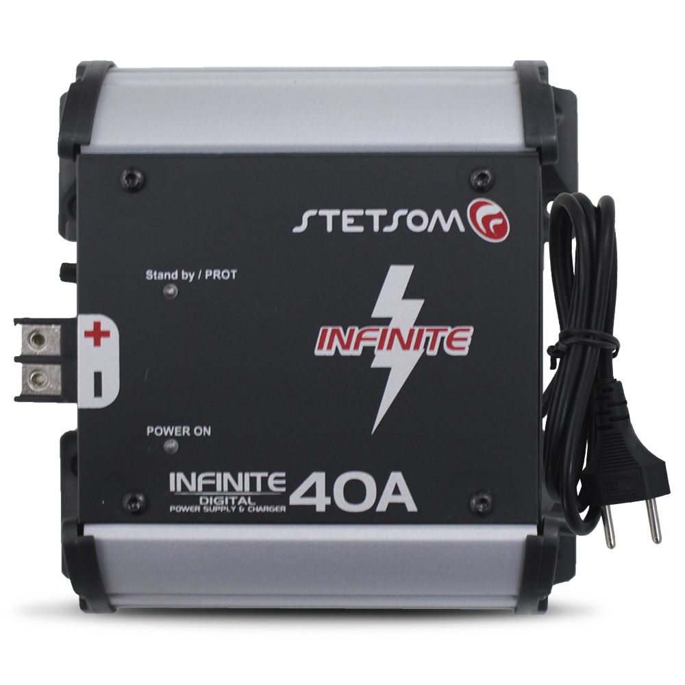 Fonte Automotivo Stetsom 40-a Infinite Bivolt Digital 12v Cooler Carregador Ajuste Tensão ABS