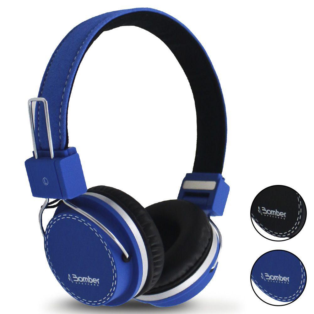 Headphone Bomber QUAKE HB02 Fone Ouvido Acolchoado Cabo Destacável Azul Preto