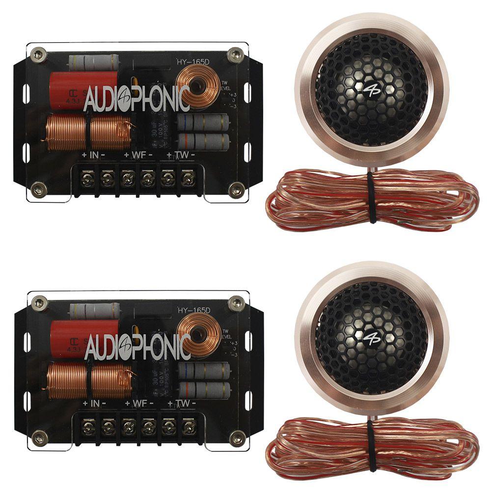 Kit 2 Vias Audiophonic 6 Polegadas HTK-6.2 H-Tech 90w Rms Par Alto Falante Mini Tweeter Painel Total 140w Rms