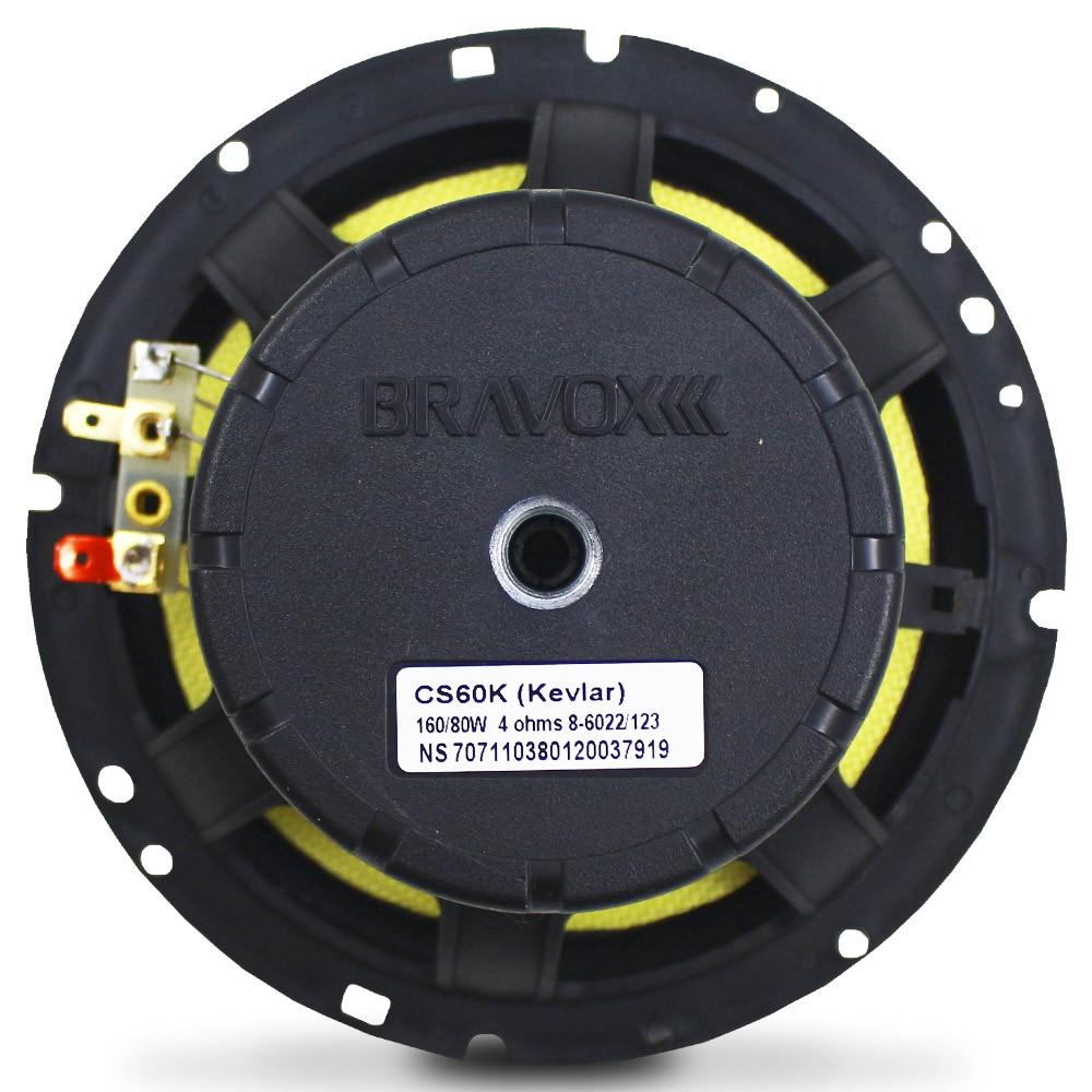 Kit 2 Vias Bravox 6 Polegadas CS60-K 160w Rms Par Alto Falante Mini Tweeter Painel Total 240w Rms
