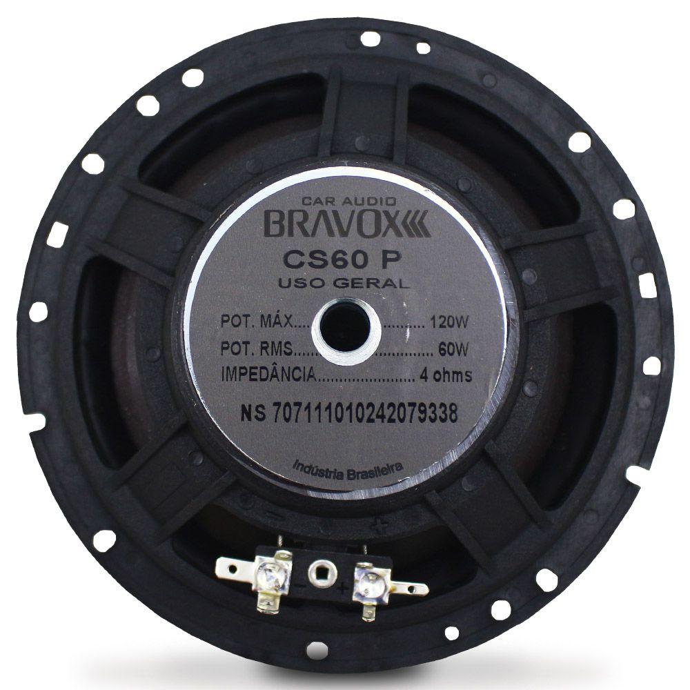 Kit 2 Vias Bravox 6 Polegadas CS60-P 120w Rms Par Alto Falante Mini Tweeter Painel Total 200w Rms