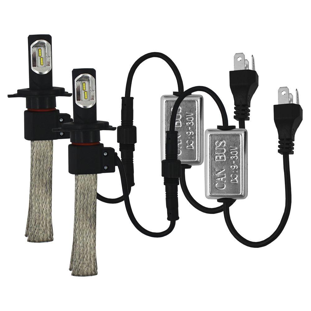 Kit Lampada Super Led H4 H15 6000k Flexivel 6400 Lúmens 12v 24v Ray X Bivolt Farol Alto Baixo Can Bus IP68