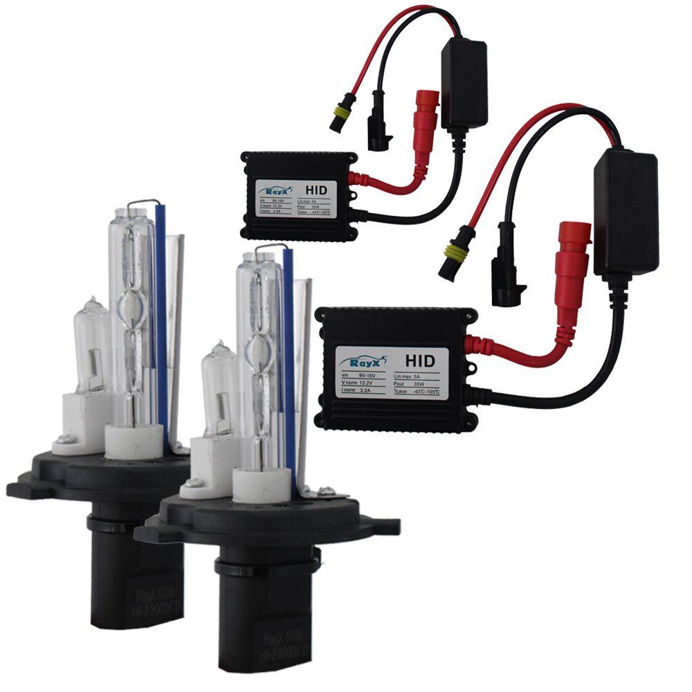 Kit Lampada Xenon H4-2 8000k 3000 Lúmens 12v 35w Ray X Farol Baixo Alto