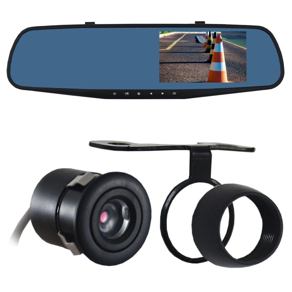 Kit Monitor Lcd Espelho Retrovisor Tela 4.3 Polegadas Camera Dianteira e de Ré Estacionamento Ray X Dvr Microfone